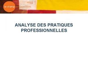 ANALYSE DES PRATIQUES PROFESSIONNELLES Les vises q Les