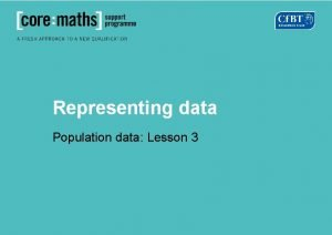 Representing data Population data Lesson 3 Bar charts