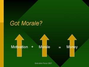 Got Morale Motivation Morale Executive Focus 2007 Money