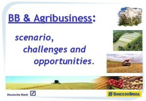 BB Agribusiness scenario challenges and opportunities Agribusiness importance