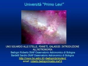 Universit Primo Levi UNO SGUARDO ALLE STELLE PIANETI