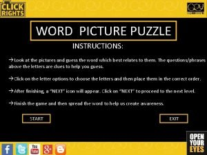 WORD PICTURE PUZZLE INSTRUCTIONS Look at the pictures