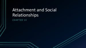 Attachment and Social Relationships CHAPTER 14 Attachment Theory