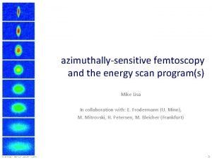 azimuthallysensitive femtoscopy and the energy scan programs Mike