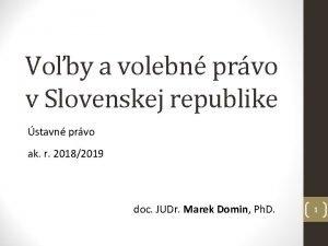 Voby a volebn prvo v Slovenskej republike stavn