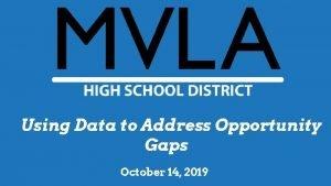Using Data to Address Opportunity Gaps October 14