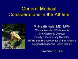 General Medical Considerations in the Athlete M Heath