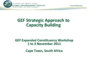 GEF Strategic Approach to Capacity Building GEF Expanded