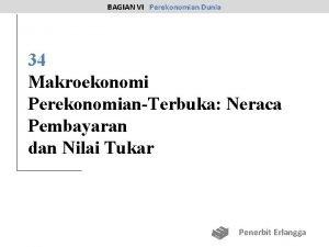 BAGIAN VI Perekonomian Dunia 34 Makroekonomi PerekonomianTerbuka Neraca
