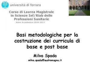 Corso di Laurea Magistrale in Scienze InfRiab delle