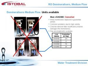 RO Demineralisers Medium Flow Demineralisers Medium Flow Units