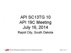 API SC 13 TG 10 API 19 C