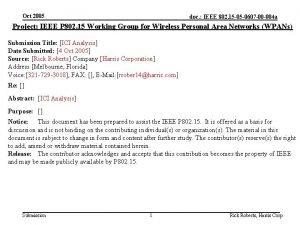 Oct 2005 doc IEEE 802 15 05 0607