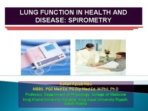 LUNG FUNCTION IN HEALTH AND DISEASE SPIROMETRY Sultan