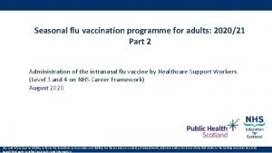 Seasonal flu vaccination programme for adults 202021 Part