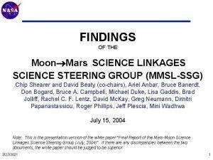 Mars Technology Program FINDINGS OF THE Moon Mars