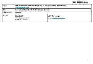 IEEE C 802 20 04xx Project IEEE 802