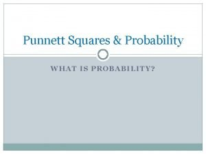 Punnett Squares Probability WHAT IS PROBABILITY Probability What