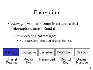 Encryption Encryption Transforms Message so that Interceptor Cannot