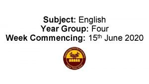 Subject English Year Group Four th Week Commencing