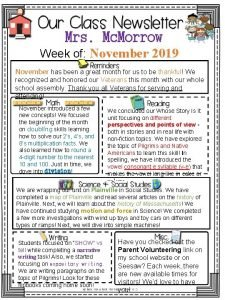 Mrs Mc Morrow Week of November 2019 November