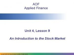 AOF Applied Finance Unit 4 Lesson 9 An