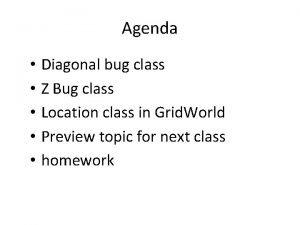 Agenda Diagonal bug class Z Bug class Location