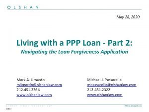 May 28 2020 Living with a PPP Loan