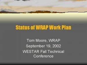 Status of WRAP Work Plan Tom Moore WRAP