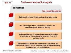 OHT 7 1 Costvolumeprofit analysis OBJECTIVES You should