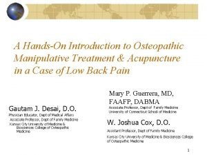 A HandsOn Introduction to Osteopathic Manipulative Treatment Acupuncture