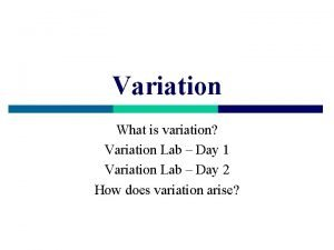 Variation What is variation Variation Lab Day 1