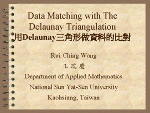 Data Matching with The Delaunay Triangulation Delaunay RuiChing