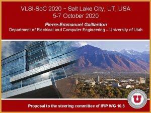 VLSISo C 2020 Salt Lake City UT USA