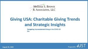 Giving USA Charitable Giving Trends and Strategic Insights
