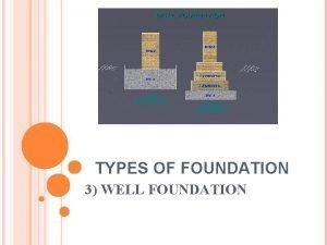 TYPES OF FOUNDATION 3 WELL FOUNDATION WELL FOUNDATION