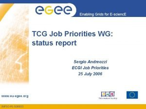 Enabling Grids for Escienc E TCG Job Priorities
