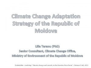Climate Change Adaptation Strategy of the Republic of