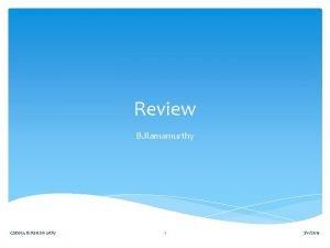 Review B Ramamurthy CSE 651 B Ramamurthy 1