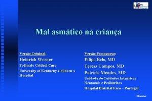 Mal asmtico na criana Verso Original Verso Portuguesa