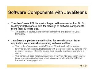 Software Components with Java Beans The Java Beans