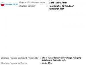 Proposed NU Business Name Business Category Sakil Dairy