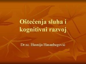 Oteenja sluha i kognitivni razvoj Dr sc Husnija