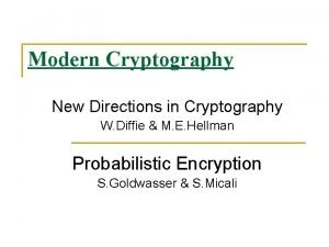 Modern Cryptography New Directions in Cryptography W Diffie