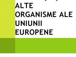 ALTE ORGANISME ALE UNIUNII EUROPENE Uniunea European UE