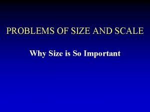 PROBLEMS OF SIZE AND SCALE Why Size is