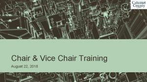 Chair Vice Chair Training August 22 2018 Agenda