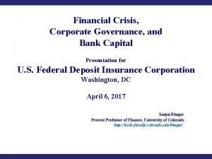 Financial Crisis Corporate Governance and Bank Capital Presentation