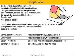 Projektionen Die Geometrie beschftigt sich damit rumliche Objekte