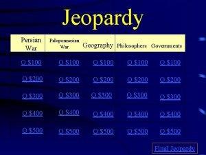 Jeopardy Persian War Peloponnesian War Q 100 Q